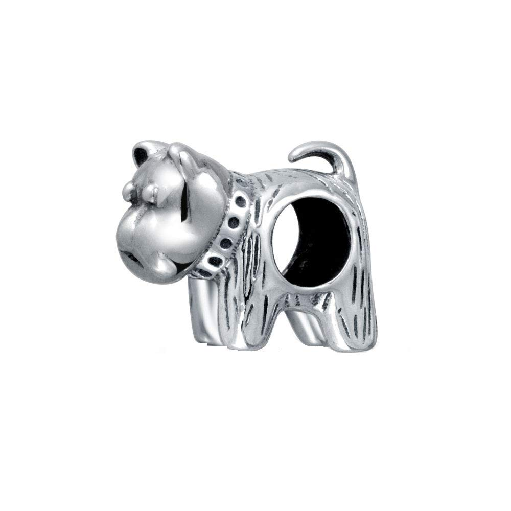 BFF Small Puppy Dog Bead Charm For Women For Teen Oxidized 925 Sterling Silver Fits European Bracelet
