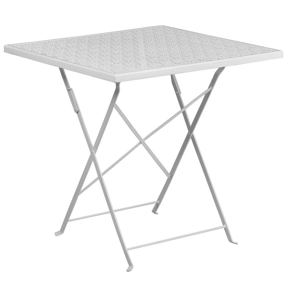 Flash Furniture 28'' Square White Indoor-Outdoor Steel Folding Patio Table