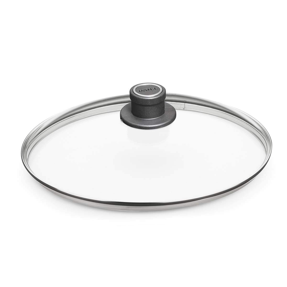 "Woll Tempered Glass with Stainless Steel Rim & Vented Knob Round Lid, 11 3/4"", Clear"
