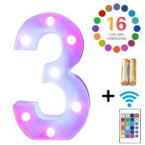 LED Marquee Letter Lights 16 Colors Changing Alphabet Sign Light Up Marquee Number Lights Battery Powered Plastic Letter for Night Home Bedroom Birthday Party Christmas Bar Decor(3)