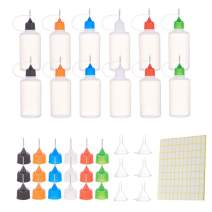 BENECREAT 12 Pcs 50ml/1.7oz Precision Tip Applicator Bottle Squeeze Glue Bottle and with 18PCS Colored Replace Head, 6 Funnels and 1 Lable for DIY Quilling, Precision Oiler and Glue Alcohol Ink