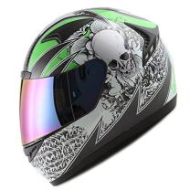 1STORM MOTORCYCLE BIKE FULL FACE HELMET BOOSTER SKULL GREEN