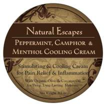 Organic Peppermint, Camphor & Menthol Cooling Cream | Natural Pain Relief Cream for Arthritis, Shingles, Foot Pain, Sciatica & More | Anti-Inflammatory Cream | 8.5 oz