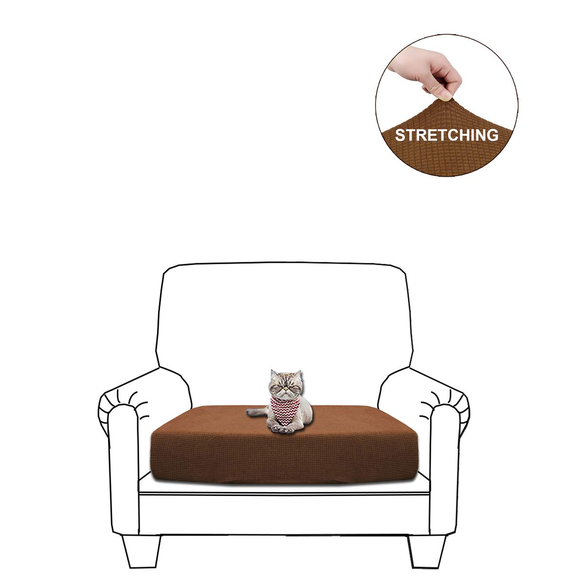 WOMACO Sofa Cushion Cover, Water Repellent Couch Slipcover Stretch Cushion Protector for Sofa Seat (Brown, Chair Cushion)