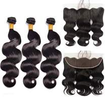 Brazilian Body Wave Hair 3 Bundles With Frontal(14 16 18+12inch) Virgin Human Hair Weave And Ear To Ear Lace Frontal Closure With Baby Hair Free Part Natural Black
