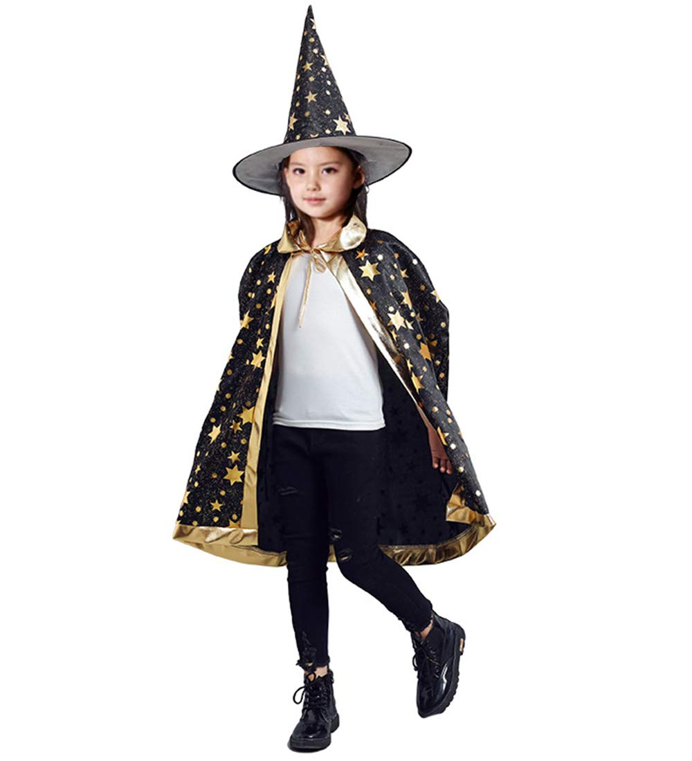 AtRenty Witch Cloak with Hat for Kids Wizard Cape Halloween Costumes Props for Children Cosplay Party