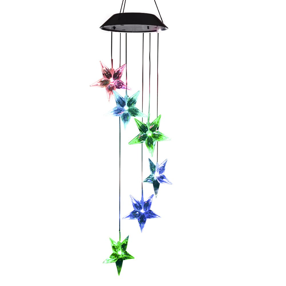 Lainin Solar Powered Wind Spinner Color Changing Clear Star Wind Chime Mobile Light for Outdoor Garden Home Patio Decoration