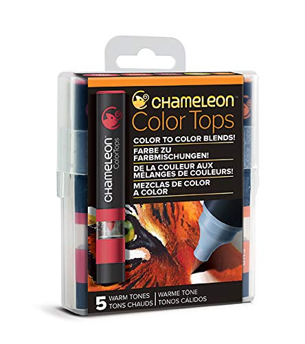 Chameleon Art Products, Warm Tones, Color Tops, Quick and Easy Blending - Set of 5