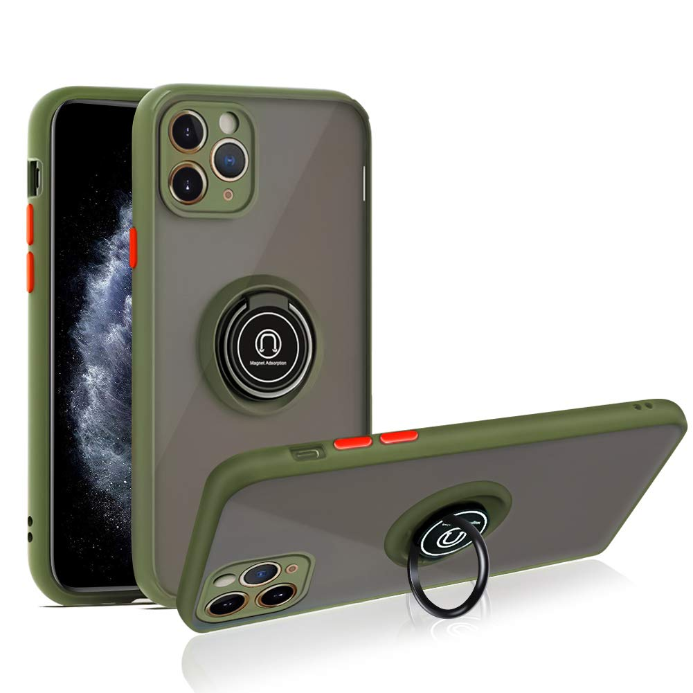 SOKAD iPhone 11 Pro Max Case with Ring 6.5 inch, Anti-Scratch Case with 360 Degree Rotation Finger Ring Kickstand Work with Magnetic Car Mount Compatible for iPhone 11 Pro Max (2019) - Army Green