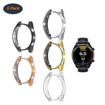 [5-Pack] Compatible with Huawei Watch GT/Active 46mm Watch Case,Soft TPU Plated [Scratch-Proof] All-Around Protective Bumper Shell Cover (Black+Silver+Clear+Gold+Rose Gold)