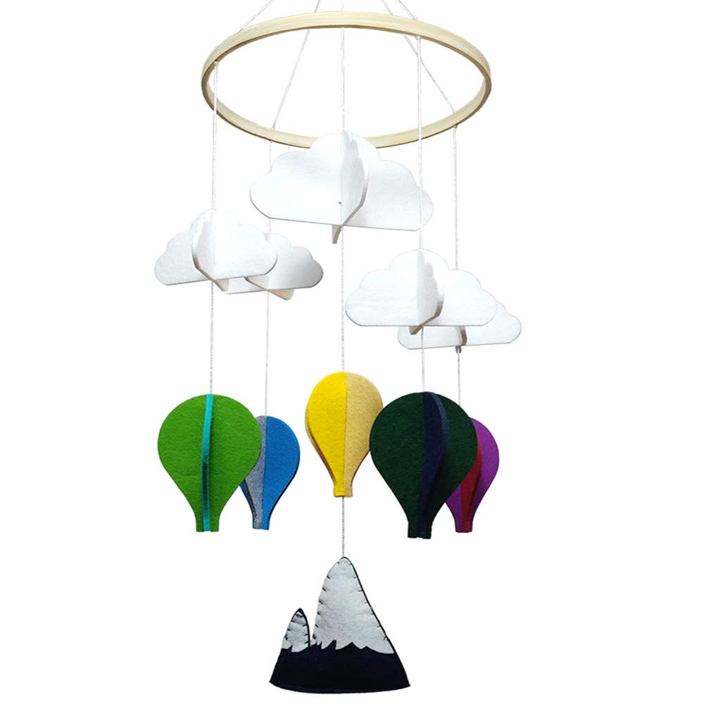 Baby Crib Mobiles Nursery Decore Felt- Colored Balloon Fly Below White Clouds for Boys Girls
