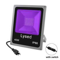 UV LED Black Lights, Lysed 40W UV Flood Light with Plug, IP66 Waterproof, Blacklight for Dance Party, Glow in The Dark, Stage Lighting, Aquarium, Body Paint, Fluorescent Poster, Neon Glow