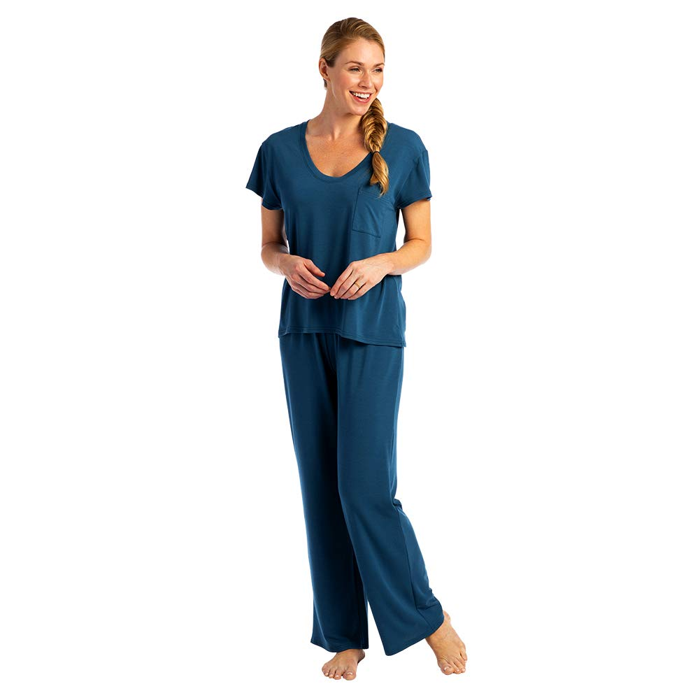 Softies Women's Cooling Boyfriend Pajama Set, Short Sleeve Shirt and Matching Ankle Length Pant (2 Piece)