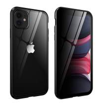 HYAIZLZ iPhone 11 Privacy Glass Case Double Sided 9H Glass Slim Mirror Metal Edge Magnetic Protective Case for iPhone 11 6.1inch,Black