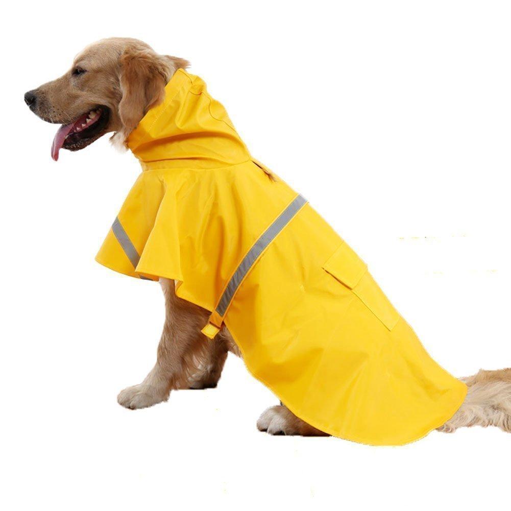 Petneces Dog Raincoat Slicker Poncho, Pet Packable Raincoat Puppy Reflective Waterproof Coat with Hooded XXL