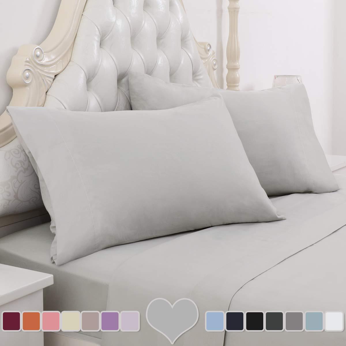 HOMEIDEAS 3 Piece Bed Sheet Set (Twin, Light Gray) 100% Brushed Microfiber 1800 Bedding Sheets - Deep Pockets