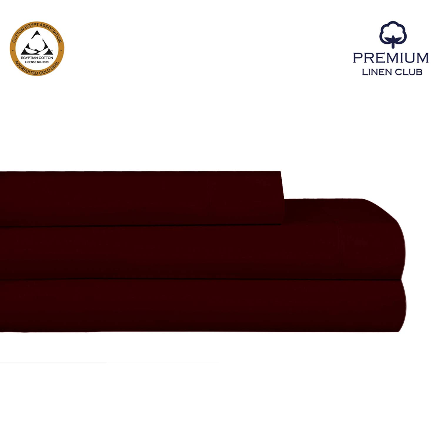 Twin XL Size 100% Egyptian Cotton 400 Thread Count 3 Piece Set Extra Long-Staple Egyptian Cotton Breathable Soft and Silky Sateen Weave Smooth Luxury Finish Sheet Set by Premium Linen Club(Burgundy)