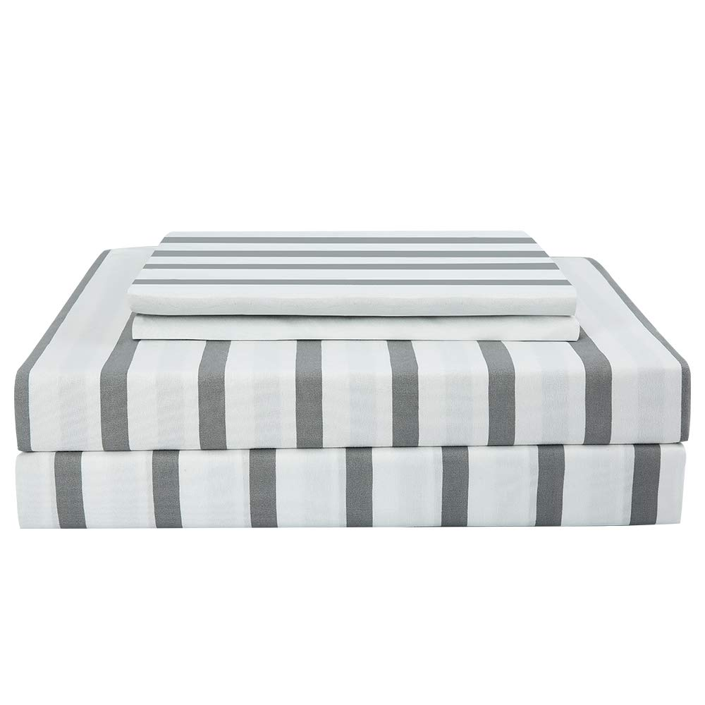 Best Season Striped Sheet Set 3 Piece-1800 Brushed Microfiber Bedding,Deep Pocket,Wrinkle Fade,Stain,Easy Care (White&Grey,Twin Size)