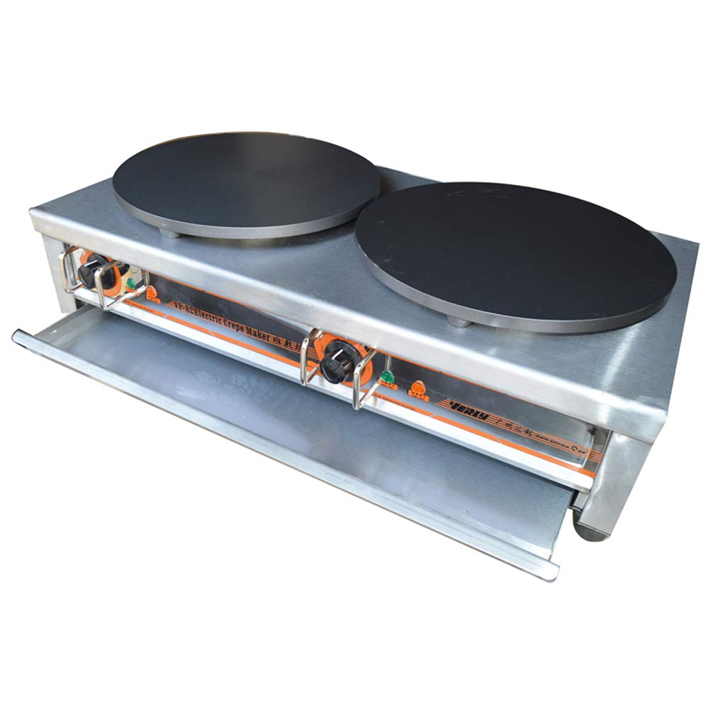 INTBUYING Electric Crepe Maker Double-Burner Commercial Pancake Making Machine Nonstick Crepe Making Griddle 134119
