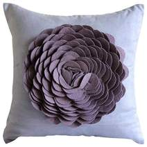 The HomeCentric Handmade Blue Pillow Covers, Felt 3D Origami Flower Pillows Cover, 14x14 inch (35x35 cm) Cushion Covers, Square Faux Suede Throw Pillows Cover, Floral Modern Pillow - Dreamy Rose