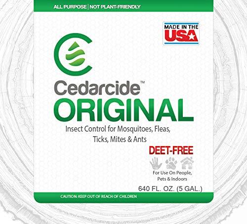 Cedarcide Original Briting Insect Spray 5 Gallon Fogging Formula Pail (Made in USA) Cedar Oil Flea & Tick Indoor Spray