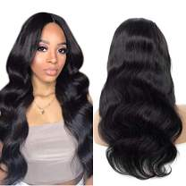 360 Lace Frontal Wig Peruvian Body Wave Human Hair Wigs Pre-Plucked Hairline 150% Density Natural Color 360 Lace Wig Human Hair with Baby Hair for Black Women(22 inch)