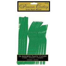 Premium Heavy Weight Assorted Cutlery | Festive Green | Pack of 24 | Party Supply