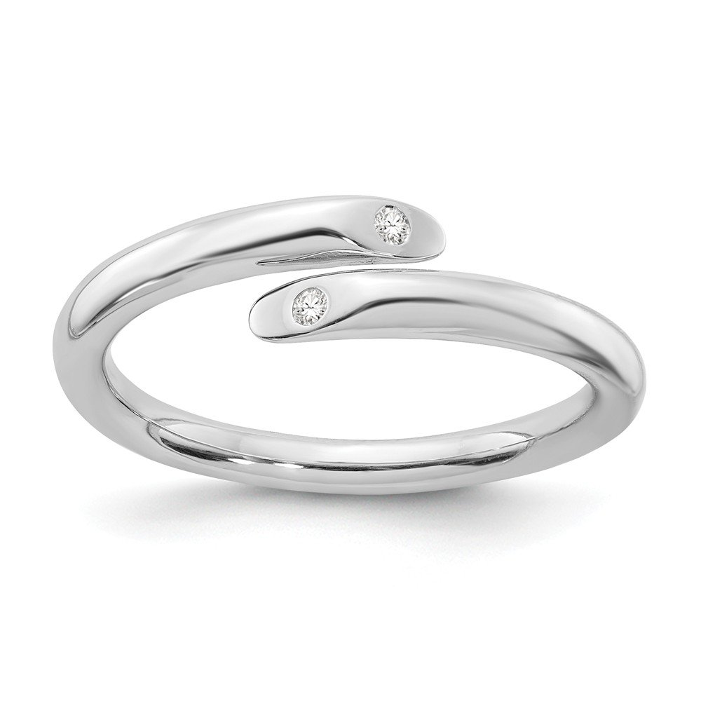 925 Sterling Silver .02ct. Diamond Band Ring Fine Jewelry Gifts For Women For Her