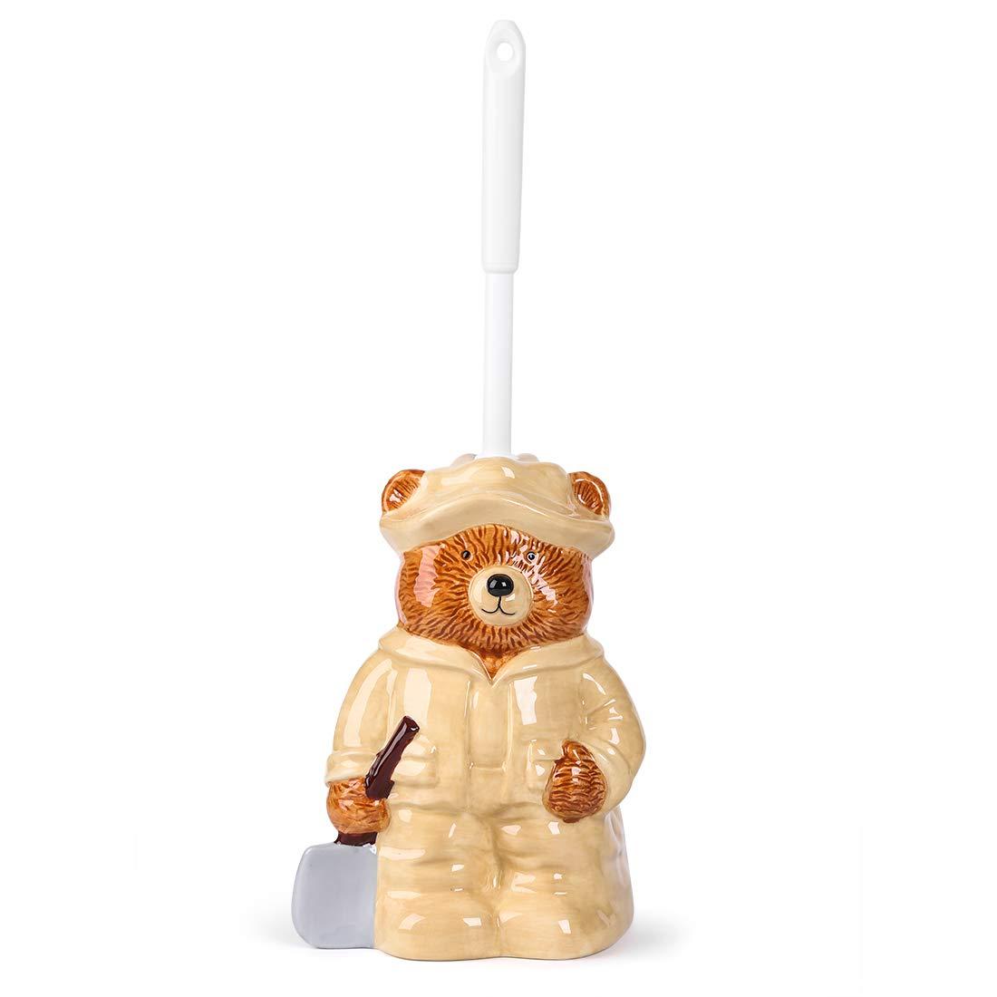FORLONG Ceramic Toilet Brush Holder Set, Creative and Cute Bear Father Brush Cleaner Holder Including Brush for Bathroom