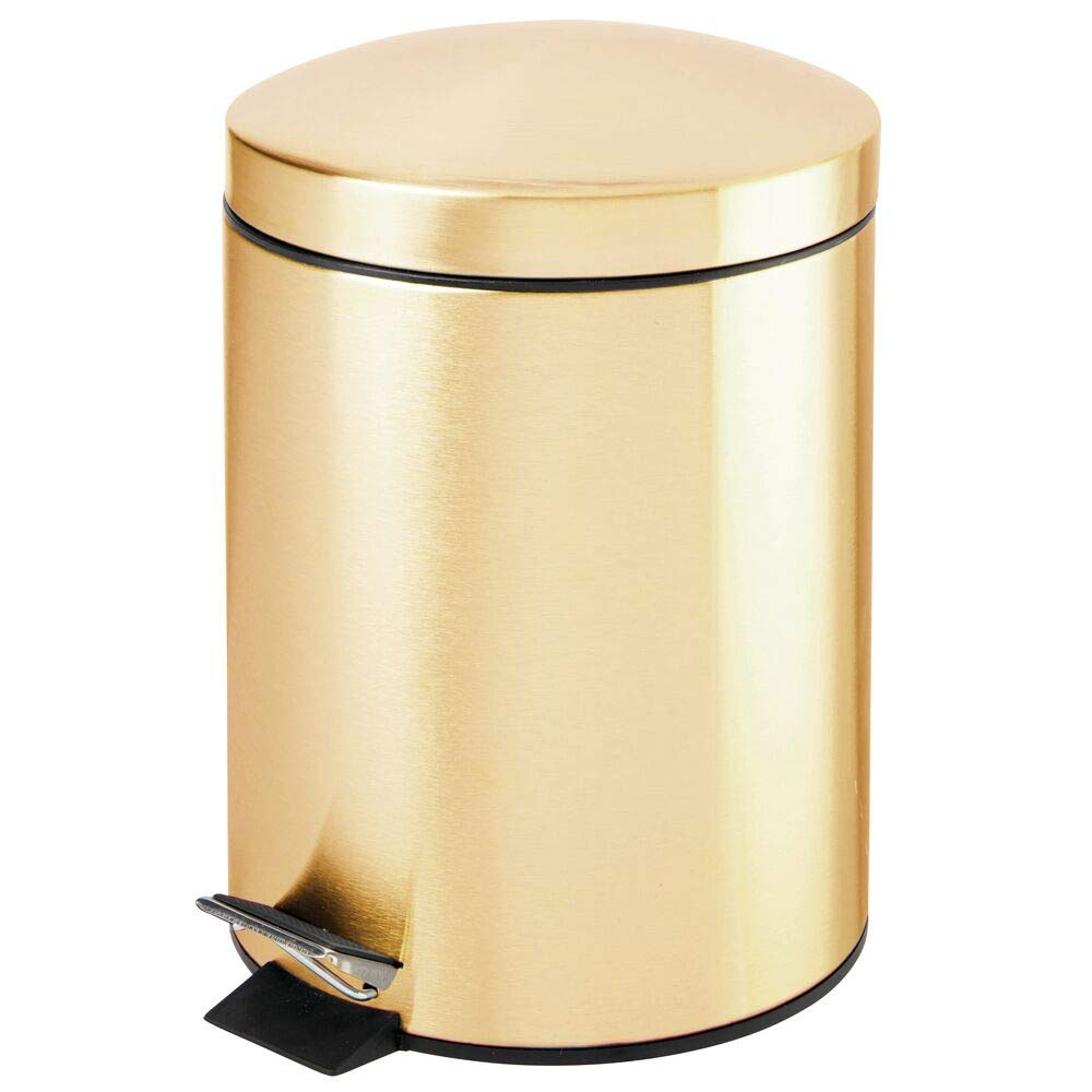 mDesign Modern 1.3 Gallon Round Small Metal Step Trash Can Wastebasket, Garbage Container Bin - for Bathroom, Powder Room, Bedroom, Kitchen, Craft Room, Office - Removable Liner Bucket - Brass