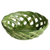 "Handmade Italian Green Ceramic Basket (4.75"") | Intrecci Collection by Modigliani – Small, Hand-Painted Ceramic Woven Home Décor Baskets | Perfect Italian Bon Bon Basket Jewelry Dish"