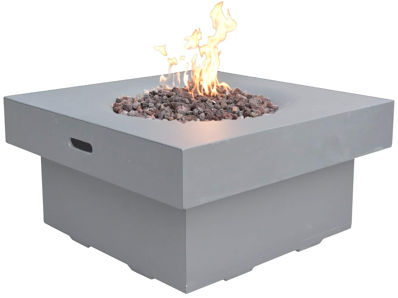 Modeno Brandford Outdoor Fire Pit Propane Table 34 Inches Square Firepit Table Concrete High Floor Patio Heater Electronic Ignition Backyard Fireplace Cover Lava Rock Included