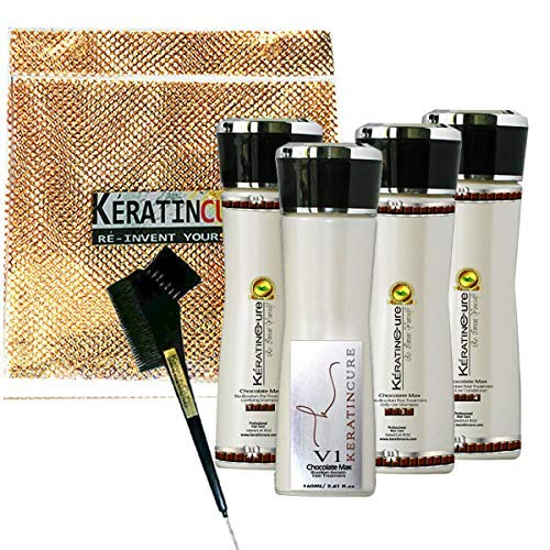 Keratin Cure Best Hair Treatment Chocolate V1 Strong - Professional Complex with Argan Oil Nourishing Strong Straightening Damaged Dry Frizzy Curly African Ethnic Wavy 6 Piece Kit 5 oz