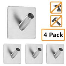 4 PCS Stainless Steel Self Adhesive Hook Towel Key Hooks, Waterproof and Oil-Resistant Wall Hook for Bathroom, Kitchen and Living Room(Square Heavy Duty Hooks-4 Packs)