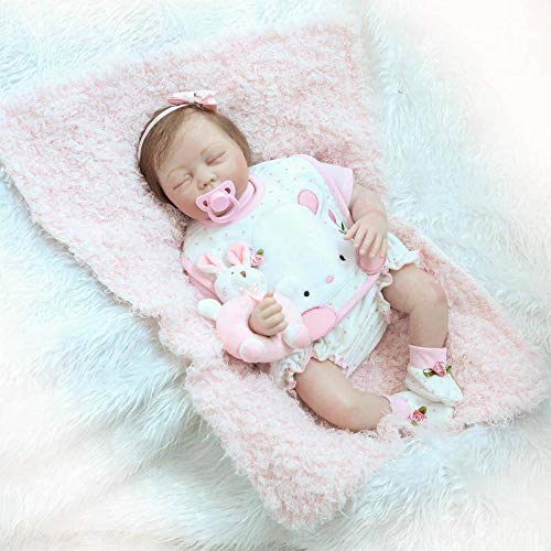 Nicery Reborn Baby Doll Soft Simulation Silicone Vinyl 22 inch 55 cm Magnetic Mouth Lifelike Vivid Boy Girl Toy for Ages 3+ Cloth Body Cute Rabbit RDS55C002