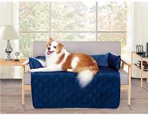"""Brilliant Sunshine Waterproof Velvet Pet Couch Sofa Bed Slip Resistant 42"""", with 3-Sides Removable Cushions, Soft and Durable for Dogs, Cats (Large 42""""×32""""×8"""" Navy Blue)"""