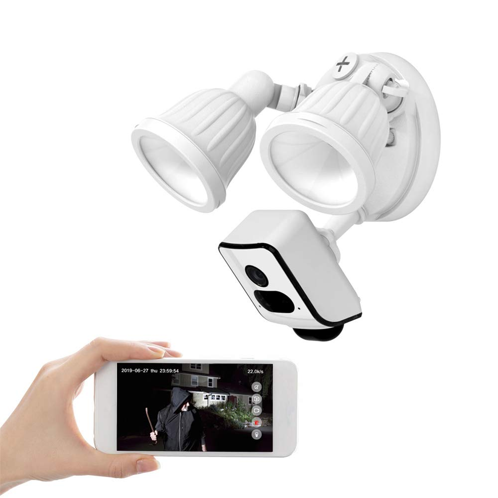 FREECAM HD 1080P Floodlight Camera Motion-Activated HD Outdoor Security WiFi Camera Built-in 16GB SD Card and Support Cloud Storage,One-Way Talk L800C White…