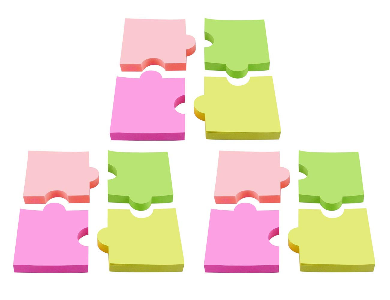 4A Shapes Sticky Notes,Puzzle,2 7/8 x 2 4/7 Inches,Neon Assorted,Self-Stick Notes,100 Sheets/Pad,4 Pads/Pack,3 Packs,4A 5020x3
