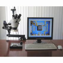 AmScope SM-6TZ-80S-3M Digital Professional Trinocular Stereo Zoom Microscope, WH10x Eyepieces, 3.5X-90X Magnification, 0.7X-4.5X Zoom Objective, 80-Bulb LED Ring Light, Clamping Articulating Arm Stand, 90V-265V, Includes 0.5X and 2.0X Barlow Lenses and 3MP Camera with Reduction Lens and Software