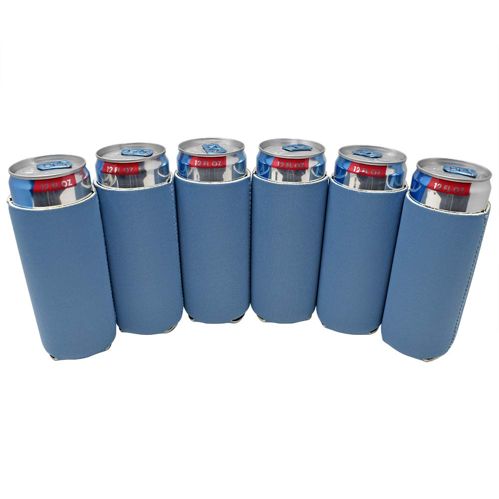 TahoeBay 6 Slim Can Sleeves - Blank Neoprene Beer Coolers – Compatible with 12oz RedBull, Michelob Ultra, White Claw Spiked Seltzer (Steel Blue, 6)