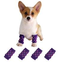Knitted Dog Leg Warmer with Rubber Reinforcement Dog Hock Protector Joint Supports Leg Hock Protector Dog Socks Knee Pads for Small Medium Dogs Cats