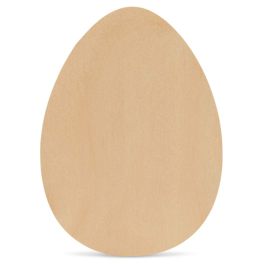 Wood Egg Cutout 10 x 7 inch, Pack of 1 Unfinished Egg Shapes to Paint for Easter Crafts and DIY Spring Decorations, by Woodpeckers