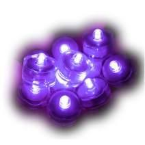 Sokaton Submersible Tea Light Battery Operated Waterproof LED Tealights Underwater Vase Light for Christmas Xmas Holloween Party Wedding Decoration (Purple-12)