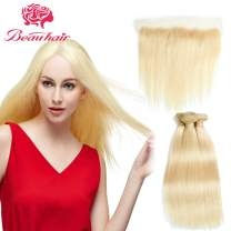 Beauhair 613 Blonde Straight Human Hair (10 12 14+10 Inch Lace Frontal) 3 Bundles with 13x4 Lace Frontal Closure Ear to Ear Frontal Closure 100% Brazilian Virgin Human Hair Weave Extensions