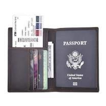 Travel Passport Wallet Rfid Blocking -Leather Passport Holder Cover Card Case for Men and Women Multi-purpose Document Organizer Accessories