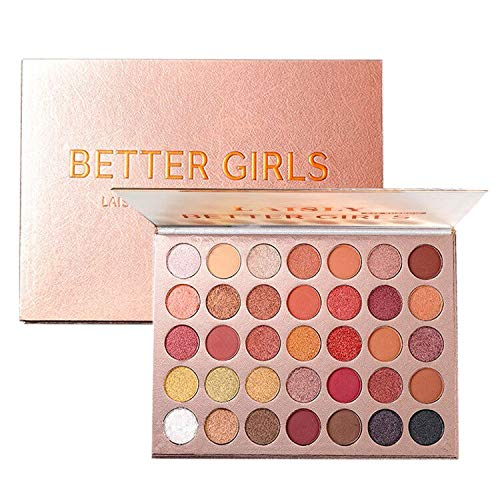 High Pigmented Eyeshadow Palette Matte + Shimmer 35 Fall Colors Makeup Natural Bronze Warm Neutral Smokey Blendable Waterproof Creamy Eye Shadows Cosmetic Kit