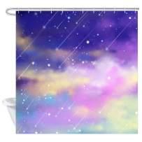 TEALP Watercolor Shower Curtain for Girls, Fairy Tale Waterproof Fabric Bath Curtain 12PCS Drapes Hooks, 72 x 72 Inch, (Falling Star)