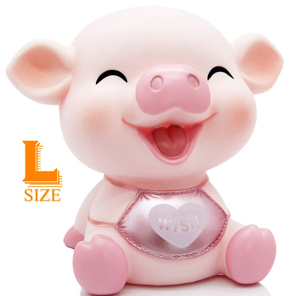 H&W Lovely Pig Baby Piggy Bank for Kids, Cute Pig Coin Bank, Can Store 1000 Coins, Money Banks Money Boxs ,at Nursery or Home Décor Keepsake and Unique Gift for Girls and Boys, Lsize - Pink(WK20-D2)