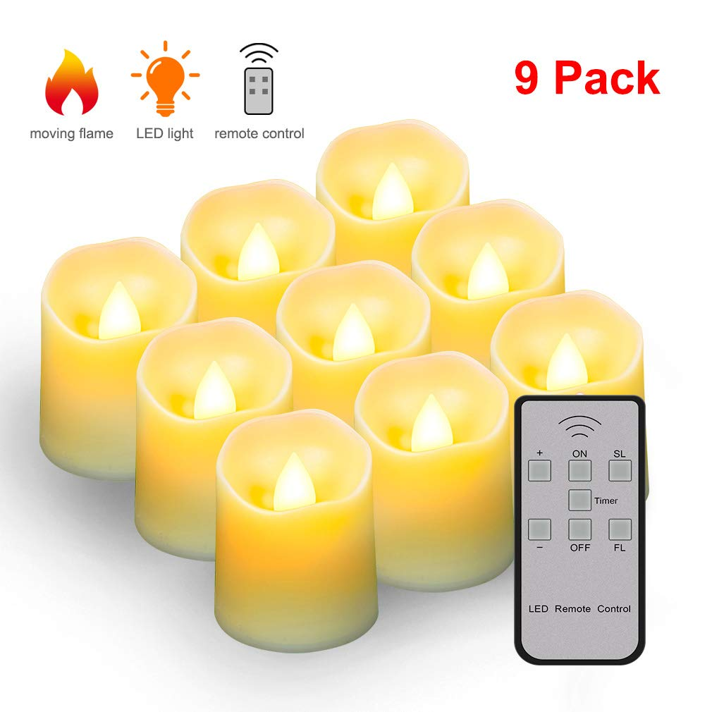 Electric Fake Flameless Candle Night Lamp with Remote, Battery Operated LED Flickering Timer Candles Tea Light for Homes, Bars, Hotel, Restaurants, Schools, Garden, Backyards and DIY Projects(9 Pack)