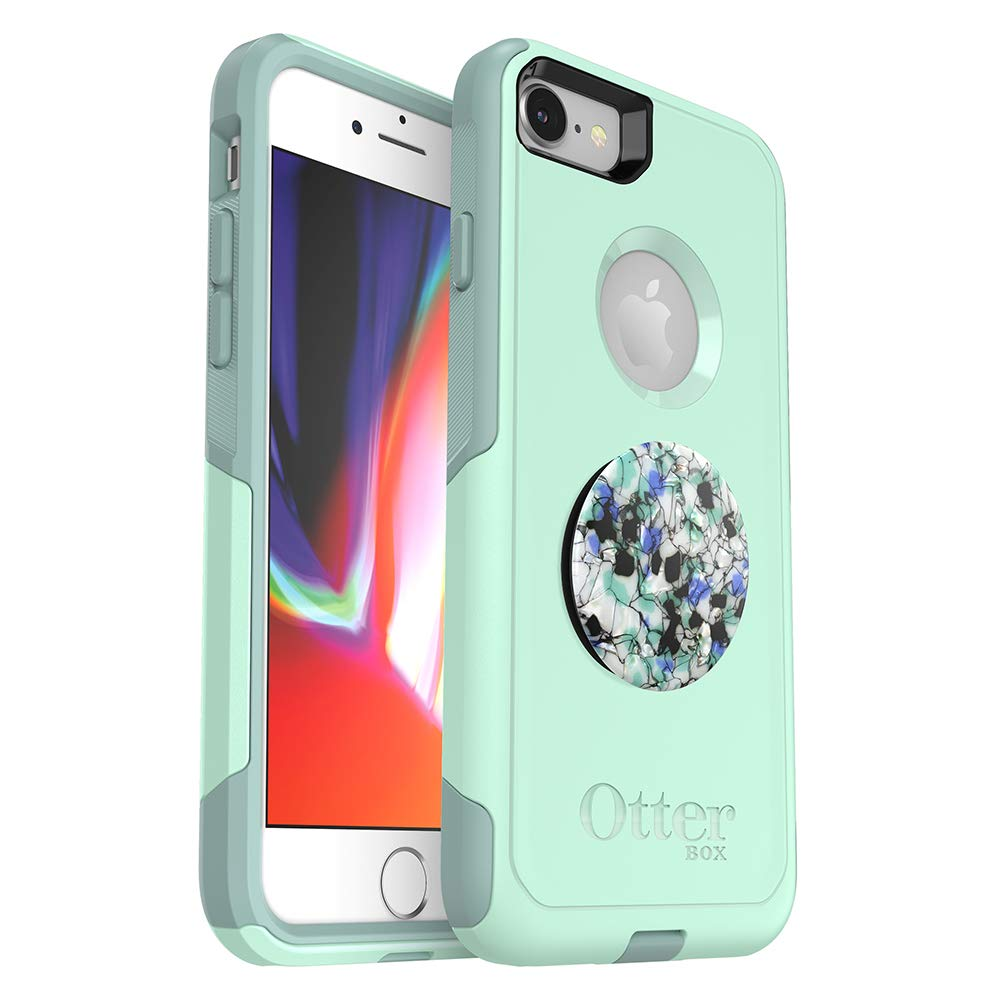 Bundle: OtterBox Commuter Series Case for iPhone SE (2nd gen - 2020) and iPhone 8/7 (NOT Plus) - (Ocean Way) + PopSockets PopGrip - (Serpentine Granite)